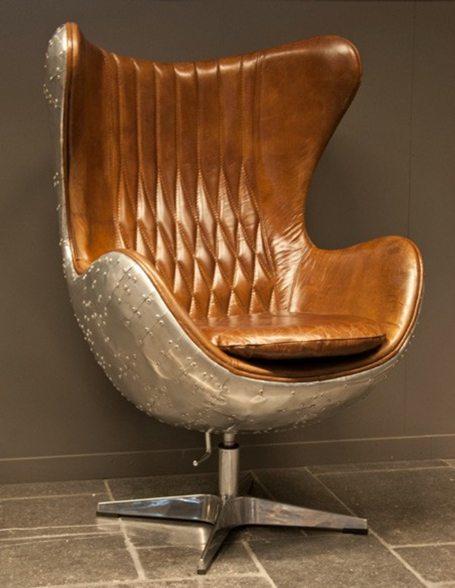 Casa Padrino Art Deco Egg Chair Drehstuhl Sessel Aluminium / Echt Leder  Braun   Club Sessel