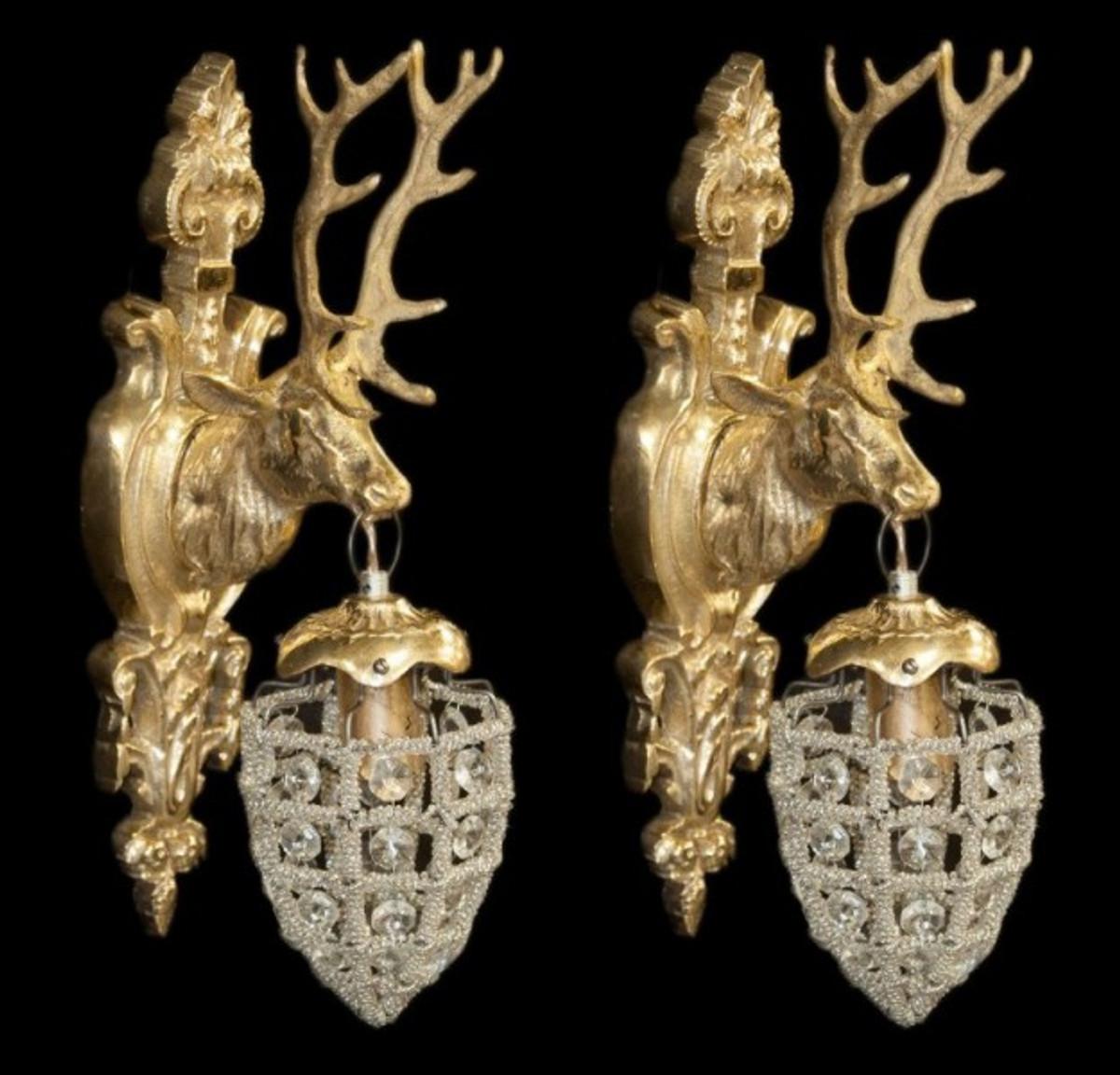 Casa Padrino Barock Wandleuchten Set Hirsch 1 Flammig Gold   Wandlampe Wand  Beleuchtung