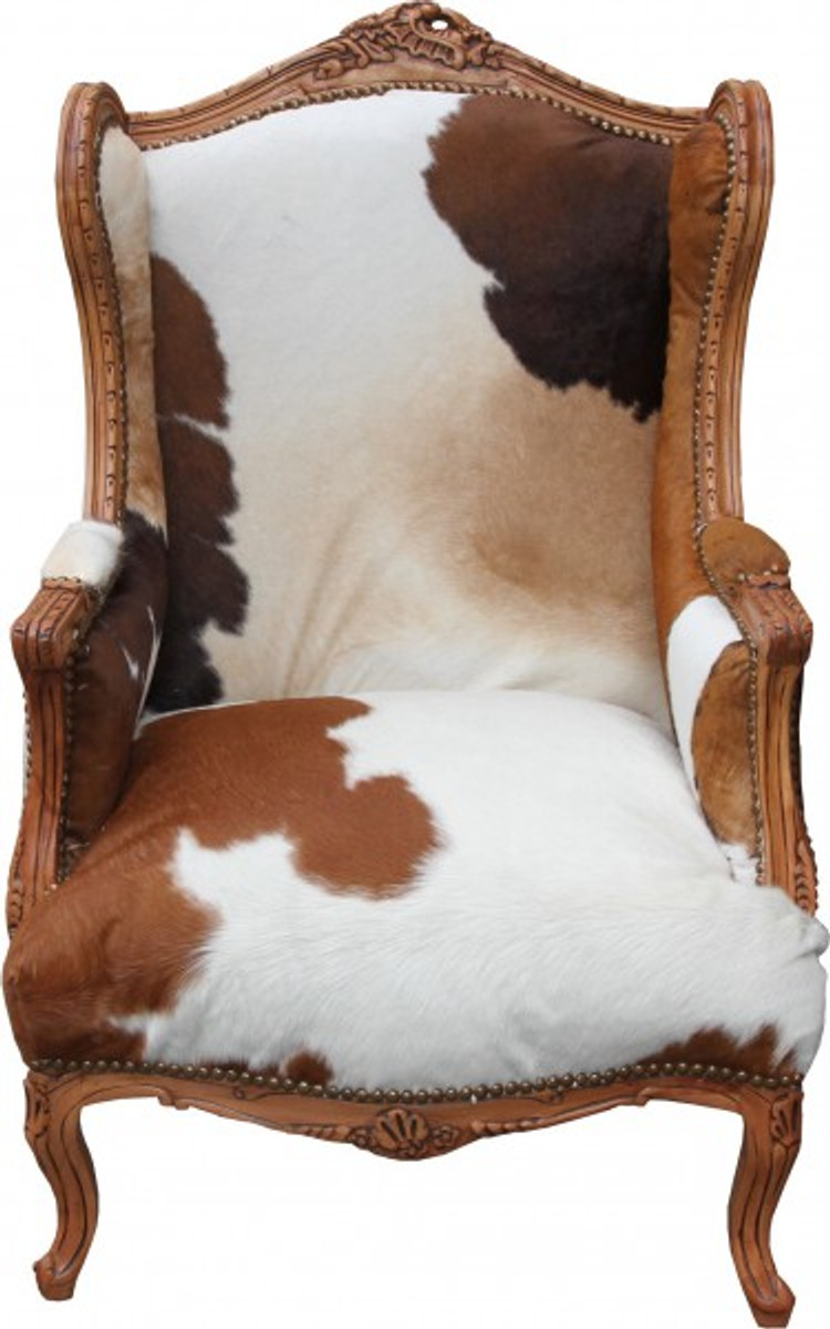 Casa padrino baroque lounge throne cowhide mod2 for Sessel barock