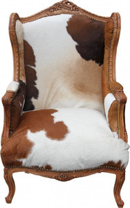 Casa Padrino Barock Lounge Thron Sessel Kuhfell Mod2 - Ohren Sessel - Ohrensessel Tron Stuhl - Unikat! – Bild 1