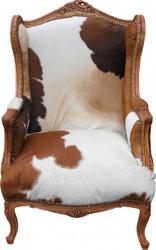Casa Padrino Barock Lounge Thron Sessel Kuhfell Mod2 - Ohren Sessel - Ohrensessel Tron Stuhl - Unikat!