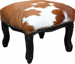 Casa Padrino Baroque footstool Cowhide / Black - Antique furniture - Stool
