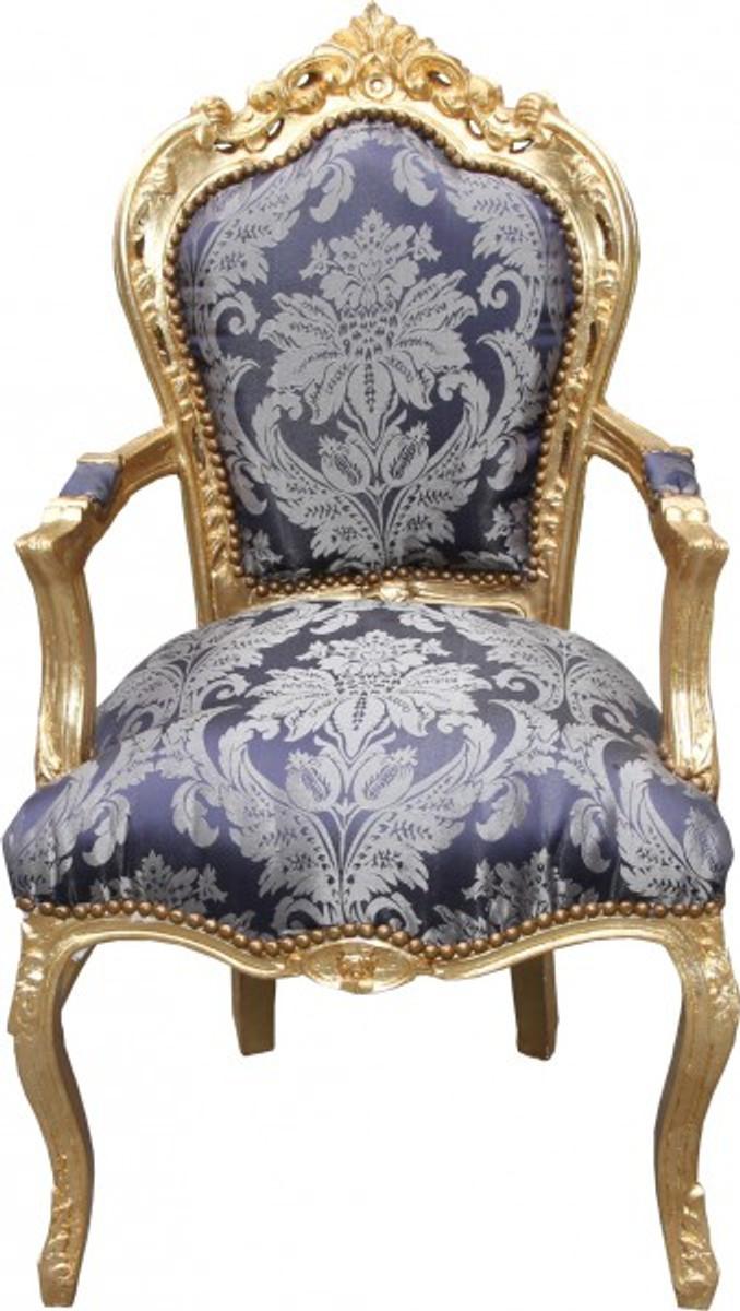 Casa Padrino Barock Esszimmer Stuhl Blau Muster Gold Mit Armlehnen