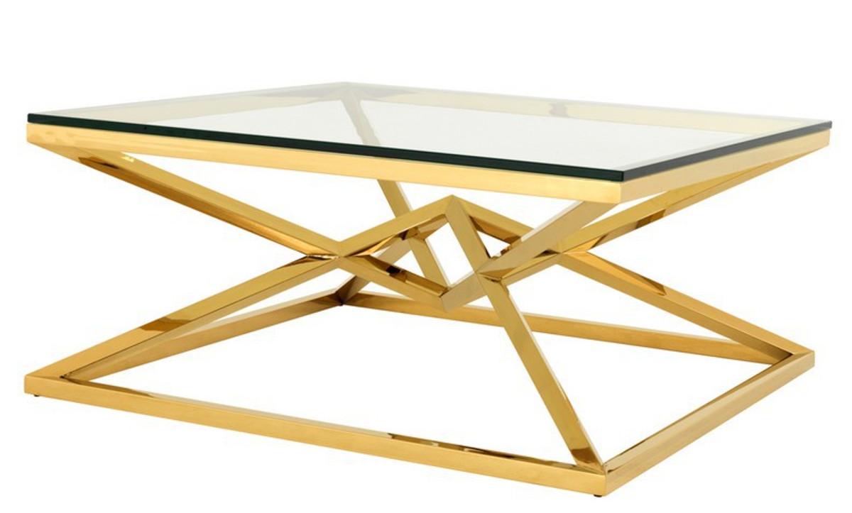 Casa Padrino Luxus Art Deco Designer Couchtisch Edelstahl Gold Mit