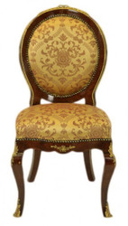 Casa Padrino Baroque luxury dining room chair Medallion Gold Pattern / mahogany - antique style - furniture