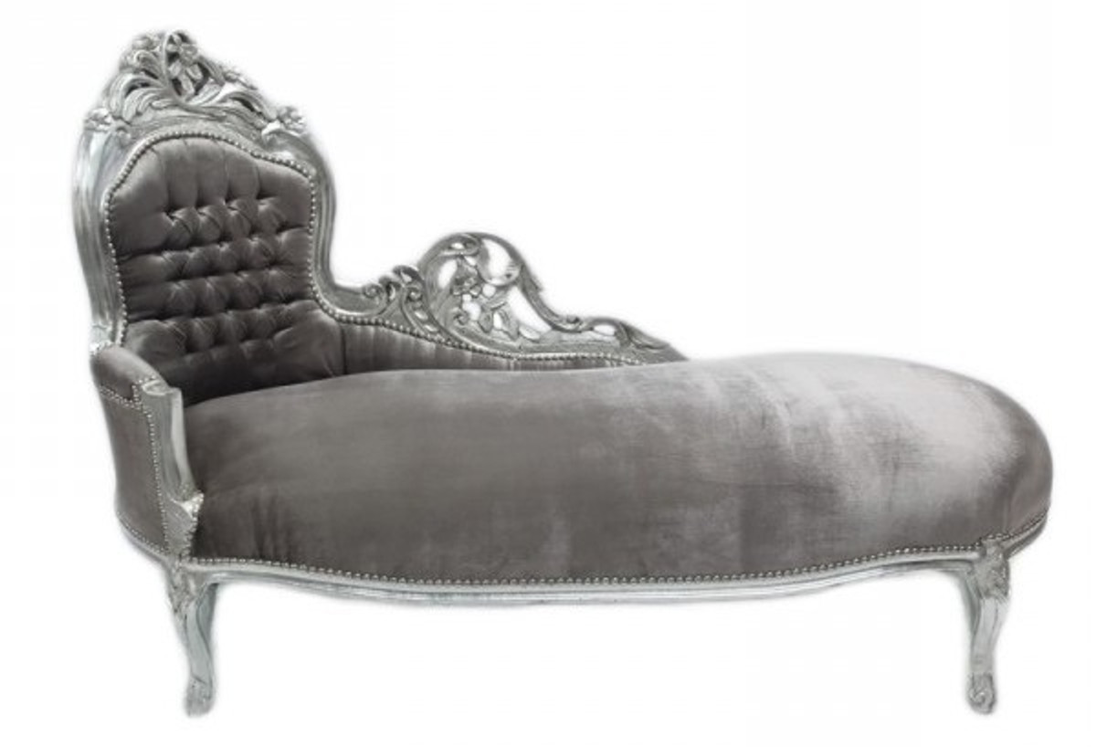 Casa padrino baroque chaise longue king grey silver for Casa chaise longue