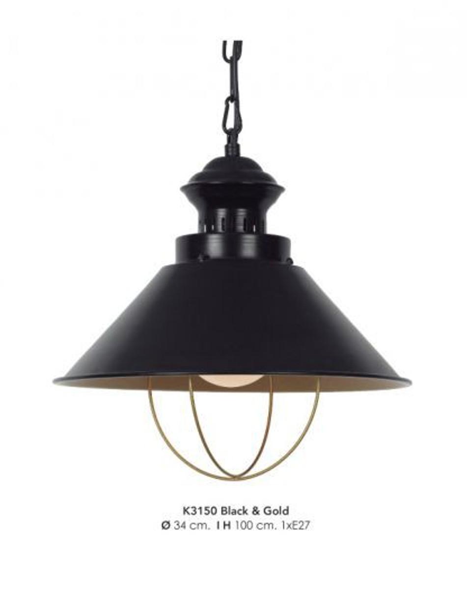 casa padrino h ngeleuchte deckenleuchte schwarz gold industrial design 34 cm durchmesser. Black Bedroom Furniture Sets. Home Design Ideas