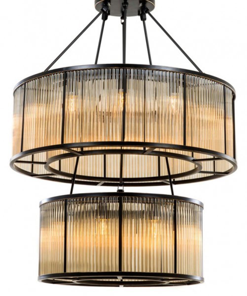Casa Padrino Luxus Hängeleuchte Bronze Finish / Glas - Art Deco Restaurant  - Hotel Lampe Leuchte