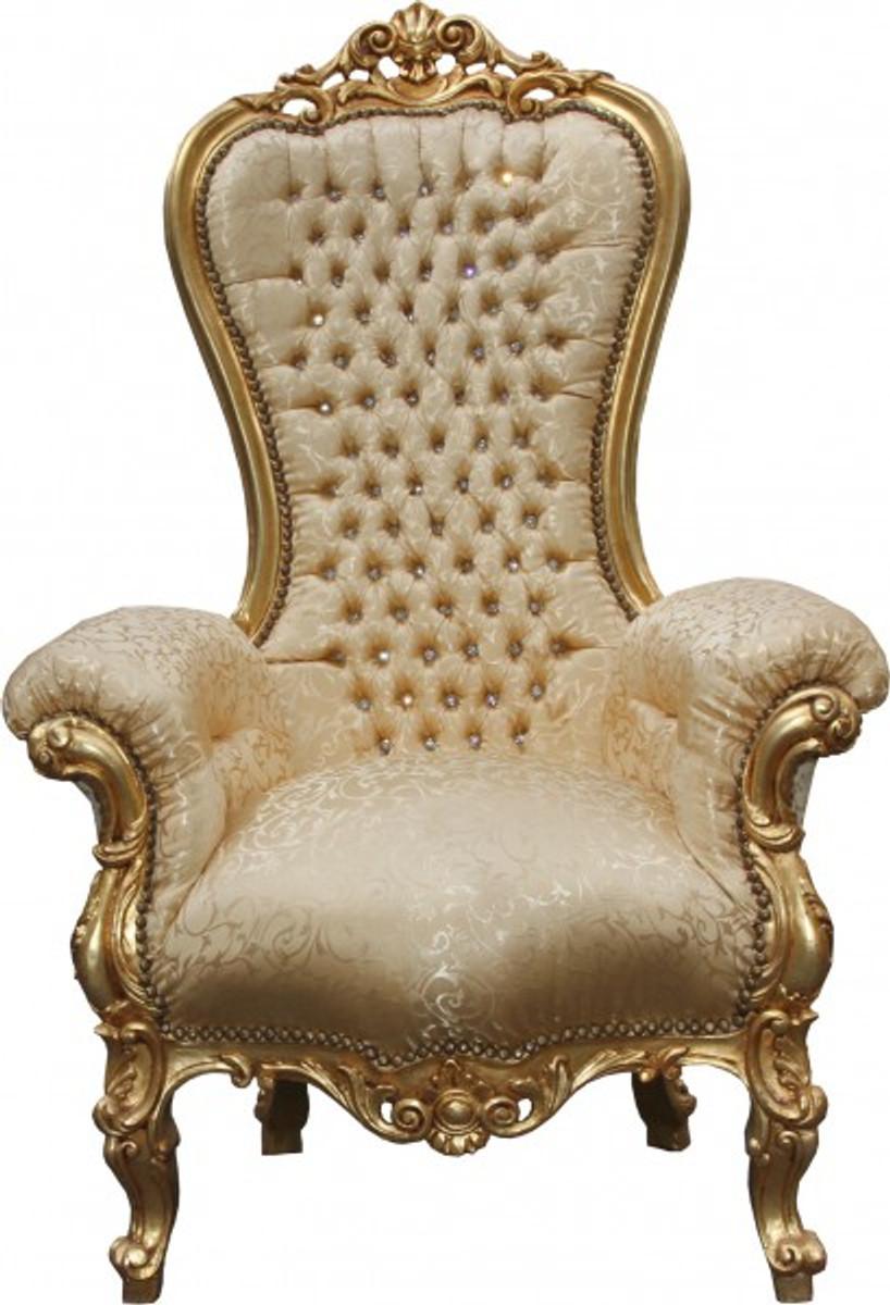 Casa Padrino Barock Thron Sessel Majestic Medium Gold Muster / Gold mit Bling Bling Glitzersteinen - Riesensessel - Thron Stuhl Tron 1