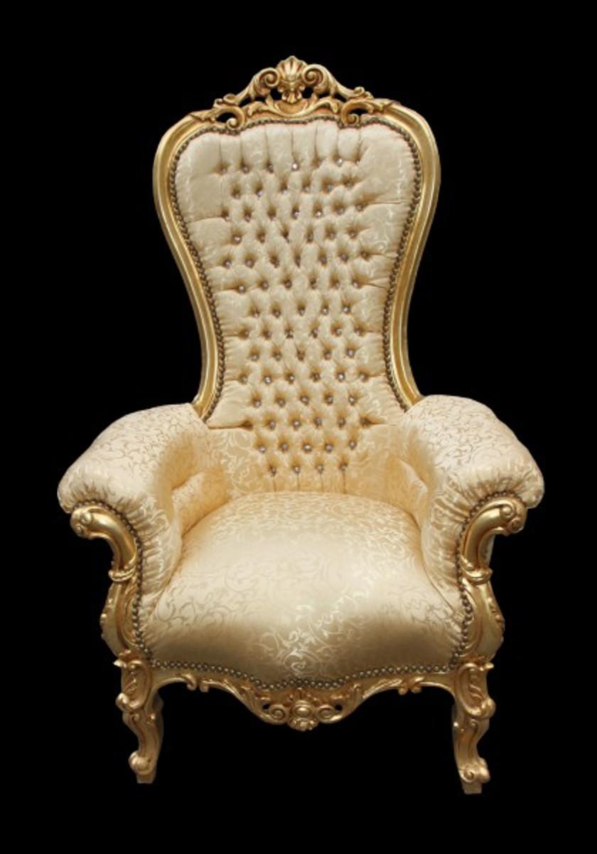 Casa Padrino Barock Thron Sessel Majestic Medium Gold Muster / Gold mit Bling Bling Glitzersteinen - Riesensessel - Thron Stuhl Tron 5