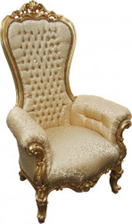 Casa Padrino baroque throne Majestic Medium Gold Pattern / Gold with Bling Bling diamante - throne chair 2