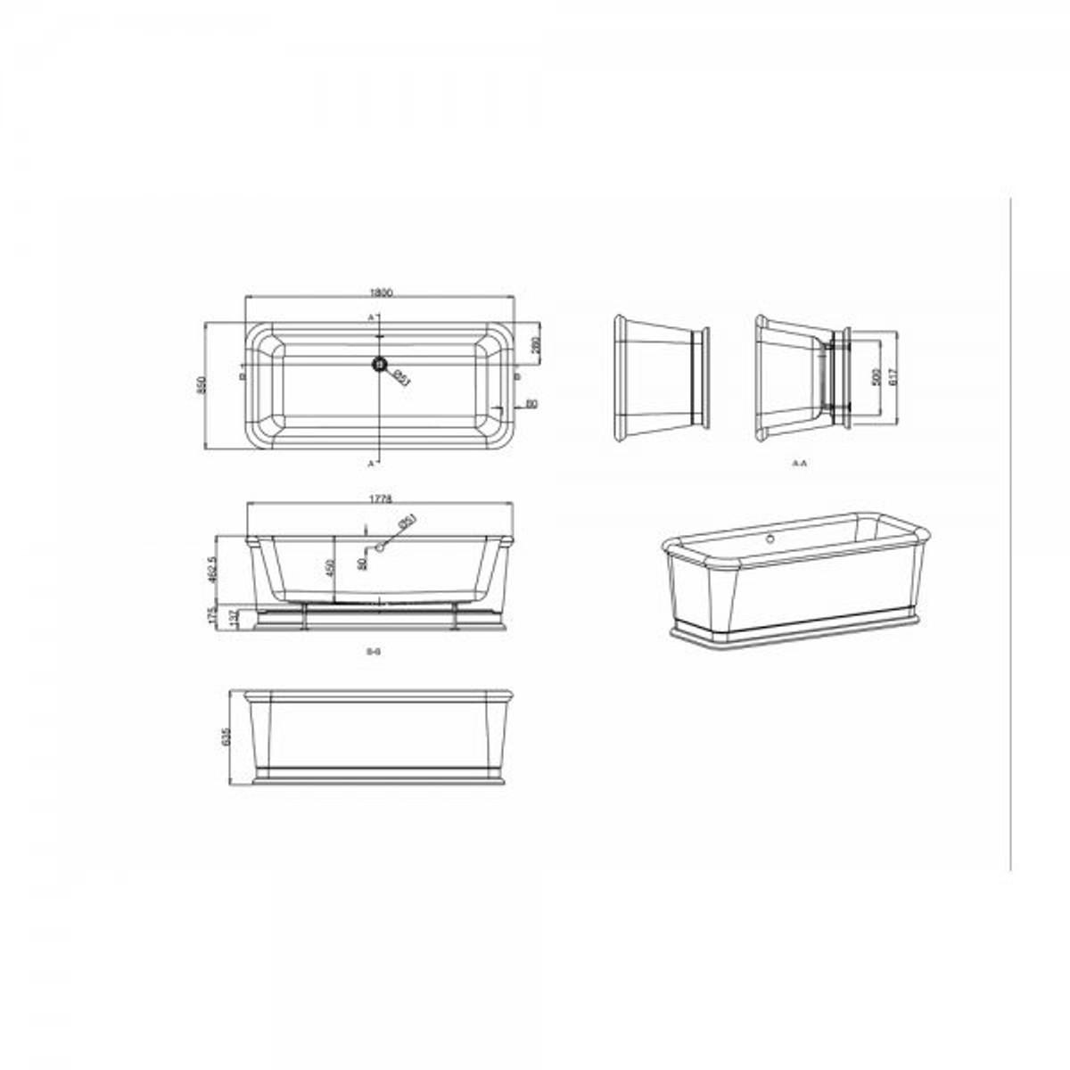 casa padrino badewanne freistehend rechteckig 1800mm blon freistehende retro antik badewanne. Black Bedroom Furniture Sets. Home Design Ideas