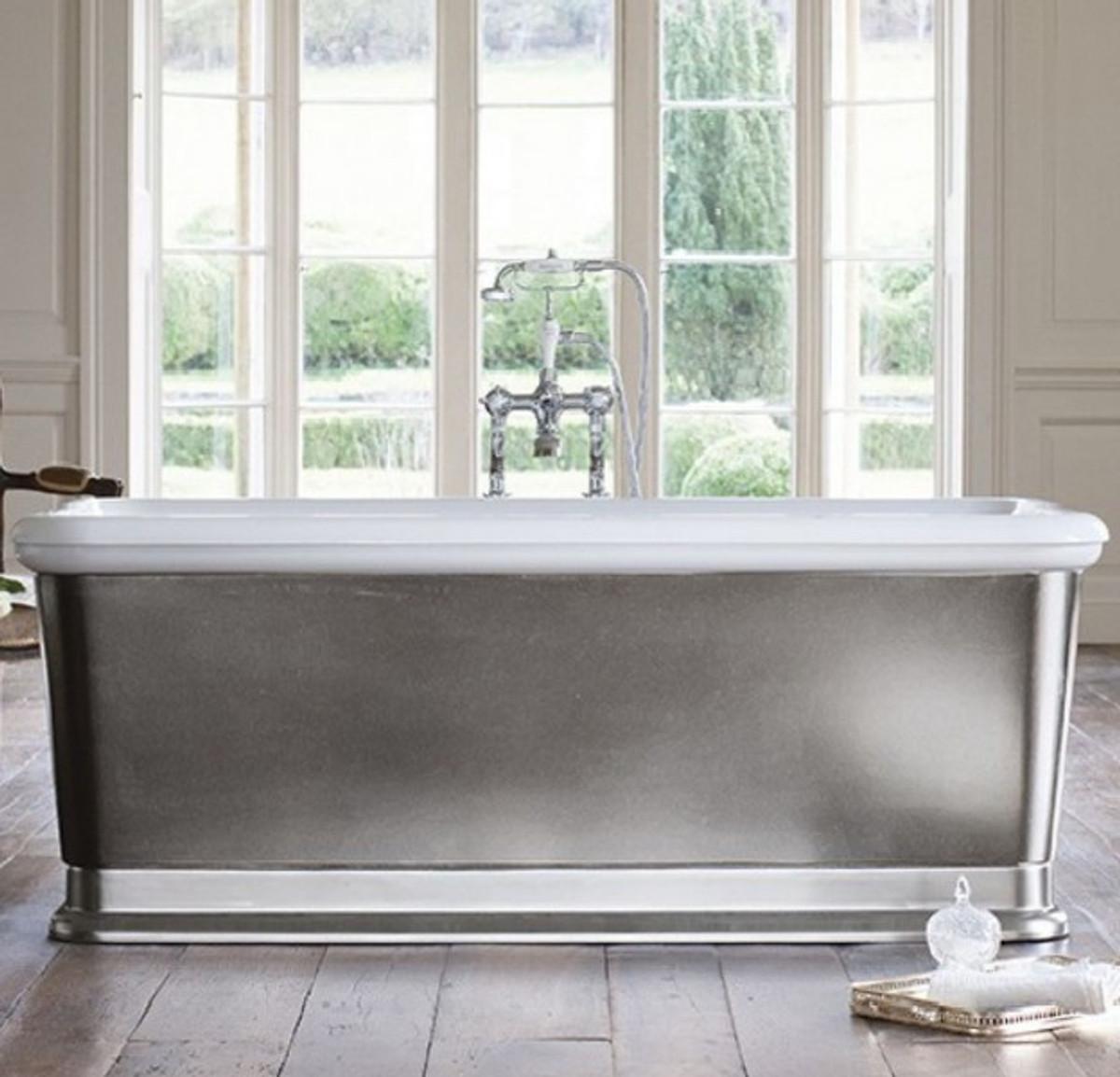 Casa Padrino Badewanne freistehend rechteckig 1800mm BLon Silber ...
