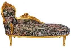 Casa Padrino baroque chaise tapestry pattern / Gold - Furniture Lounge deck Recamiere