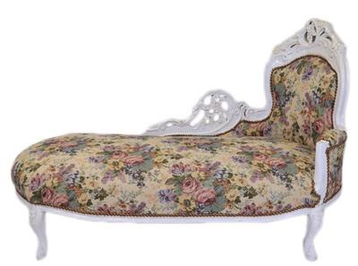 Casa Padrino Barock Chaiselongue Blumenmuster / Antik Weiß - Möbel Lounge Liege Recamiere