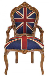 Casa Padrino Baroque Dinner Chair with armrests Union Jack / Brown - Antique style