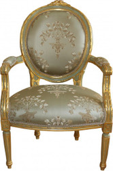 Casa Padrino luxury Baroque Medallion Salon chair Green Pattern / Gold Model Versailles - Antique style furniture