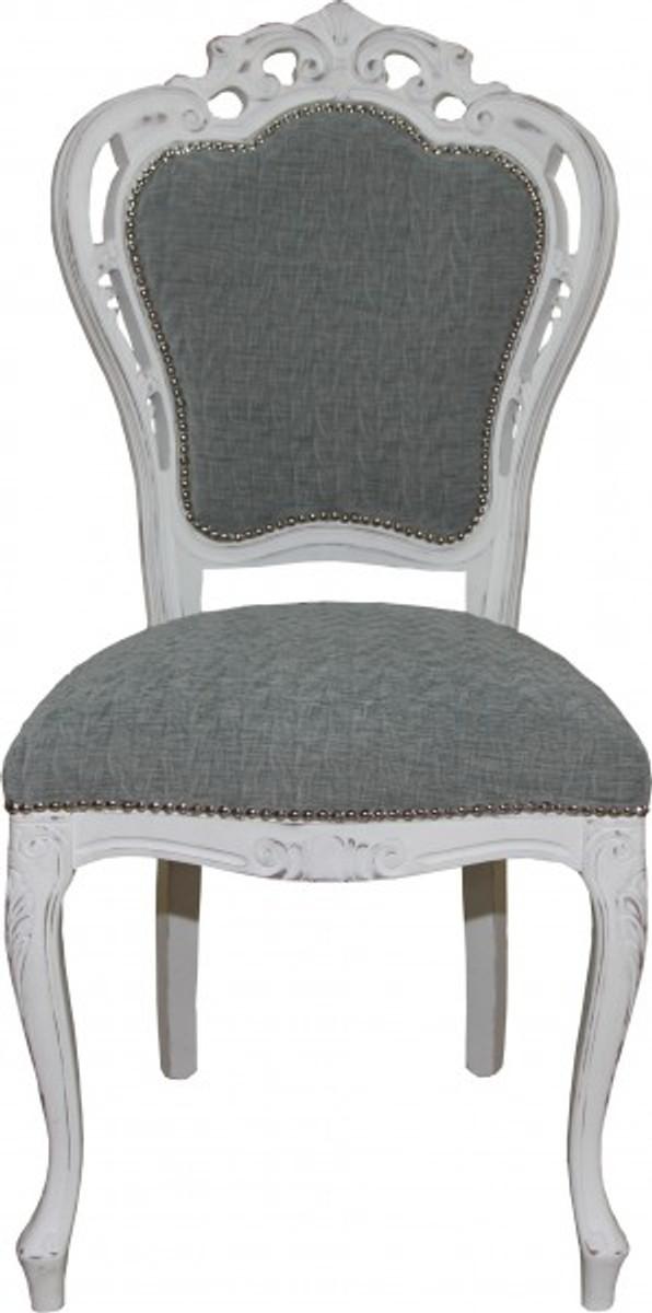 casa padrino barock esszimmer stuhl ohne armlehnen grau antik wei designer stuhl luxus. Black Bedroom Furniture Sets. Home Design Ideas