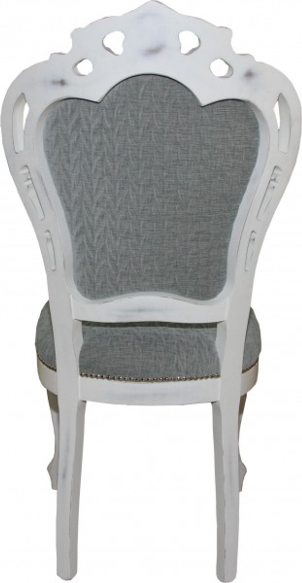 Casa padrino baroque dinner chair without armrests grey for Barock stuhl