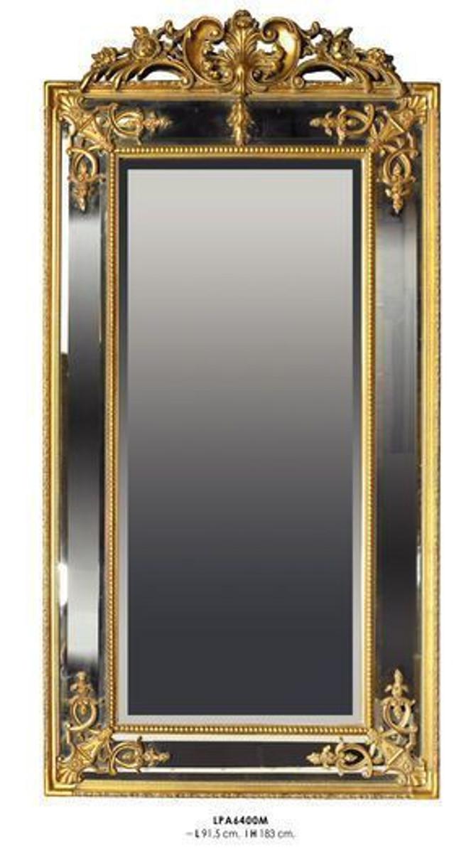 Casa Padrino Barock Wandspiegel Gold H 183 cm B 91.5 cm - Edel & Prunkvoll - Goldener Spiegel 1