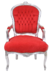 Casa Padrino Baroque Salon Chair Skyblue / Silver - Antique Furniture Design