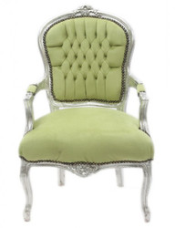 Casa Padrino Baroque Salon Chair Jade-Green / Silver - Antique Furniture Design