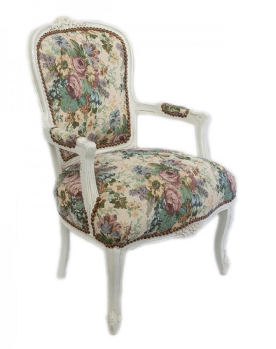 casa padrino barock salon stuhl blumen muster antik wei antik design m bel st hle barock. Black Bedroom Furniture Sets. Home Design Ideas