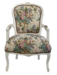 Casa Padrino Baroque Salon Chair Flower Pattern / Antique White - Antique Furniture Design