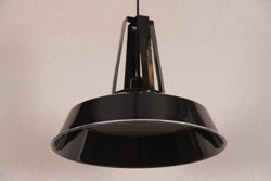 Casa Padrino Vintage Industrial Hanging lamp antique style Epoxy Black glossy metal diameter 42cm - Restaurant - Hotel lamp lamp - Industrial Lamp