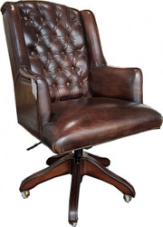 Casa Padrino luxury leather executive chair office chair dark brown swivel desk chair - head office