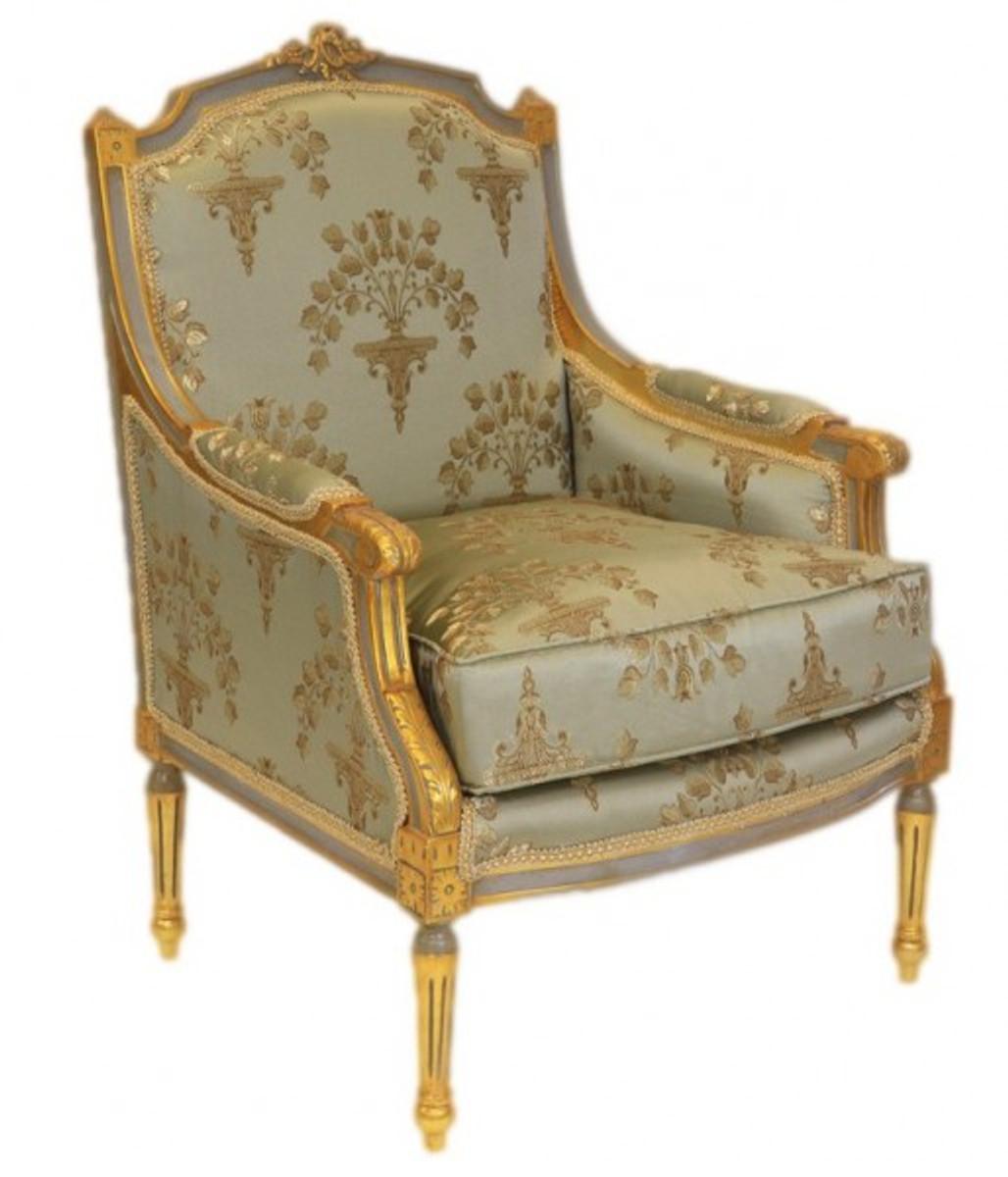 Casa Padrino Barock Lounge Thron Sessel Empire Jadegrün Muster / Gold    Ohren Sessel   Ohrensessel