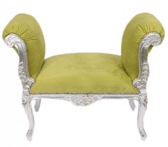 Casa Padrino Barock Schemel Hocker Jadegrün / Silber - Sitzbank – Bild 1