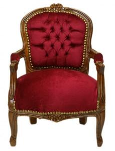 Casa Padrino Barock Kinder Stuhl Bordeaux Rot / Braun - Kindermöbel