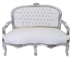 Casa Padrino Baroque Kider seat white leather look / silver antique style lounge