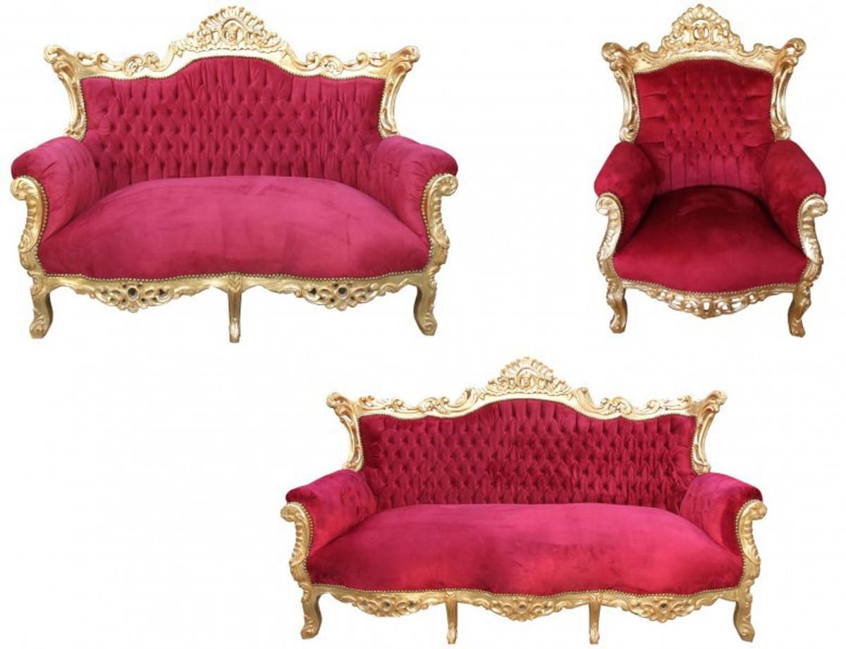 Casa Padrino Barock Wohnzimmer Set Master Bordeaux Rot/ Gold - 3er ...