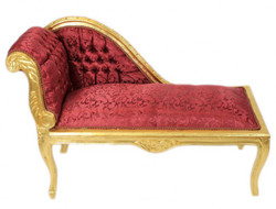 Casa Padrino Baroque Kids chaise Bordeaux Red Pattern / Gold Mod2 - Baroque Furniture Tron