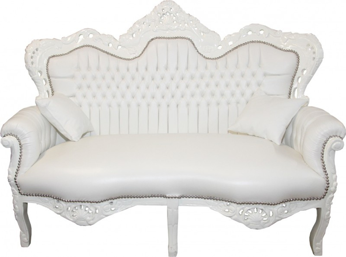 casa padrino baroque master 2 seater white leather look. Black Bedroom Furniture Sets. Home Design Ideas