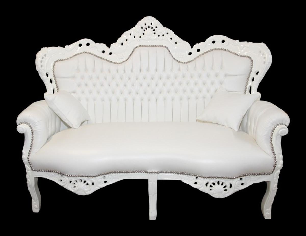Casa Padrino Barock 2Er Sofa Master Weiß Lederoptik - Wohnzimmer