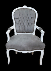 Casa Padrino Baroque Salon Chair grey / white - Mod1