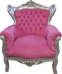 Casa Padrino Baroque Kids Armchair Rose /  Silver- Baroque furniture