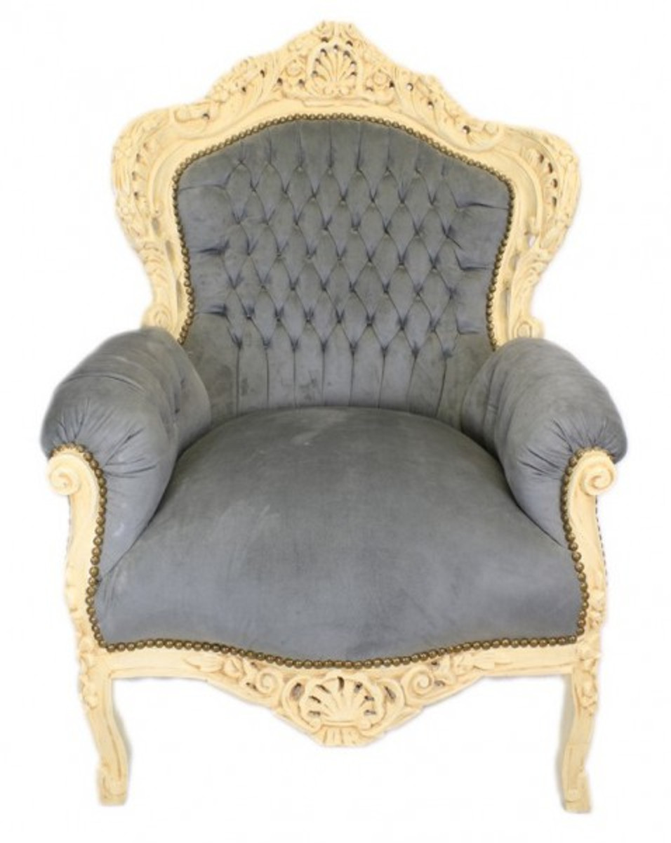 casa padrino baroque armchair king grey antique style. Black Bedroom Furniture Sets. Home Design Ideas