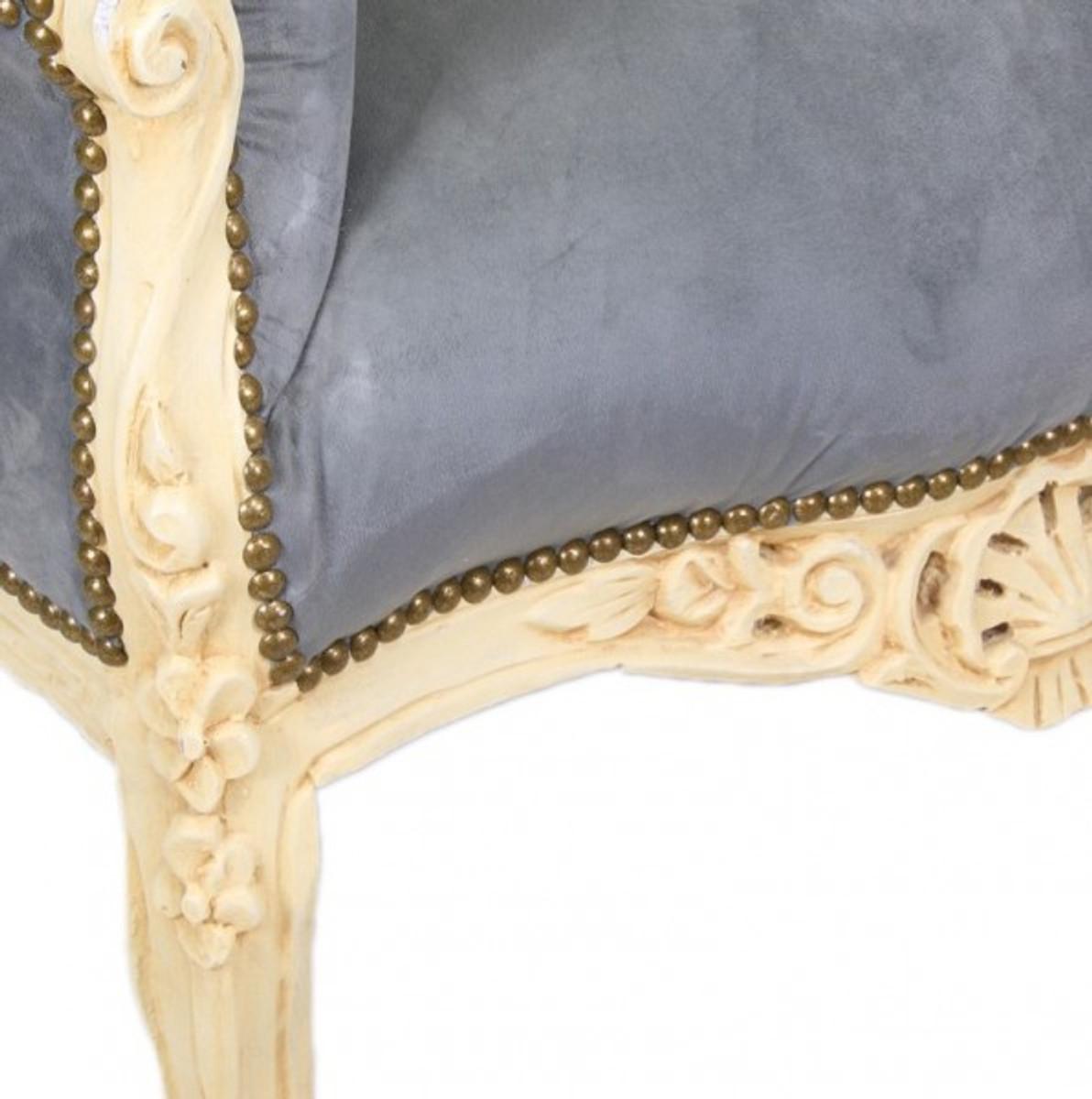 """Casa Padrino Barock Sessel """"King"""" Grau Antik Stil Creme Möbel Sessel Barock Sessel Modell """"King"""""""