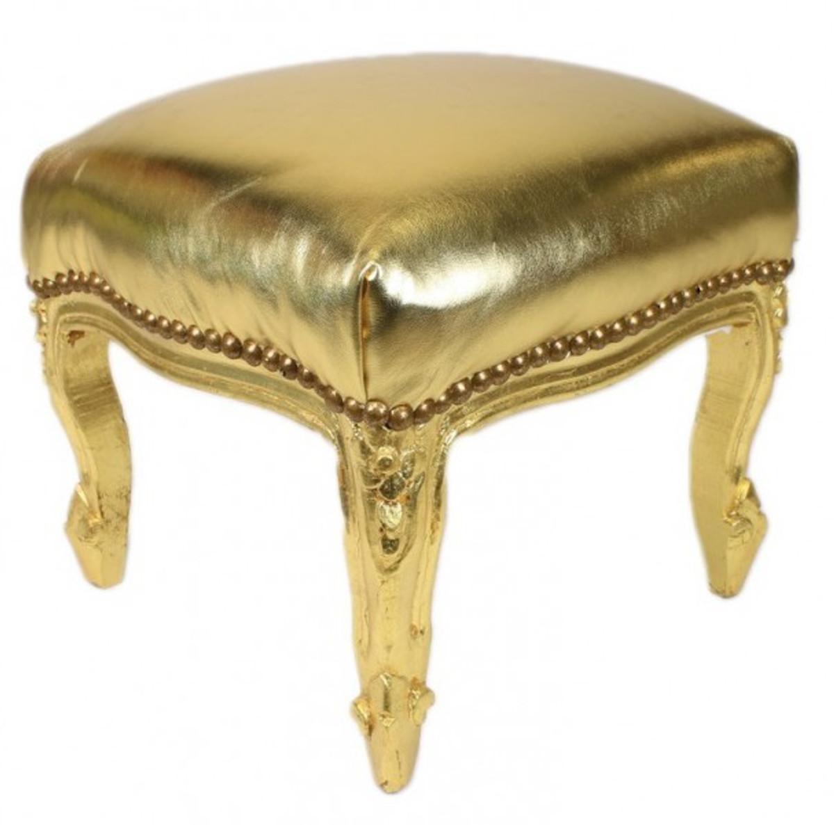 casa padrino barock fu hocker gold lederoptik gold. Black Bedroom Furniture Sets. Home Design Ideas