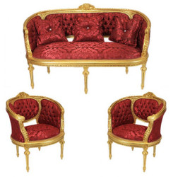 Casa Padrino Barock Wohnzimmer Set Marseille Bordeaux Muster / Gold - Sofa + 2 Sessel