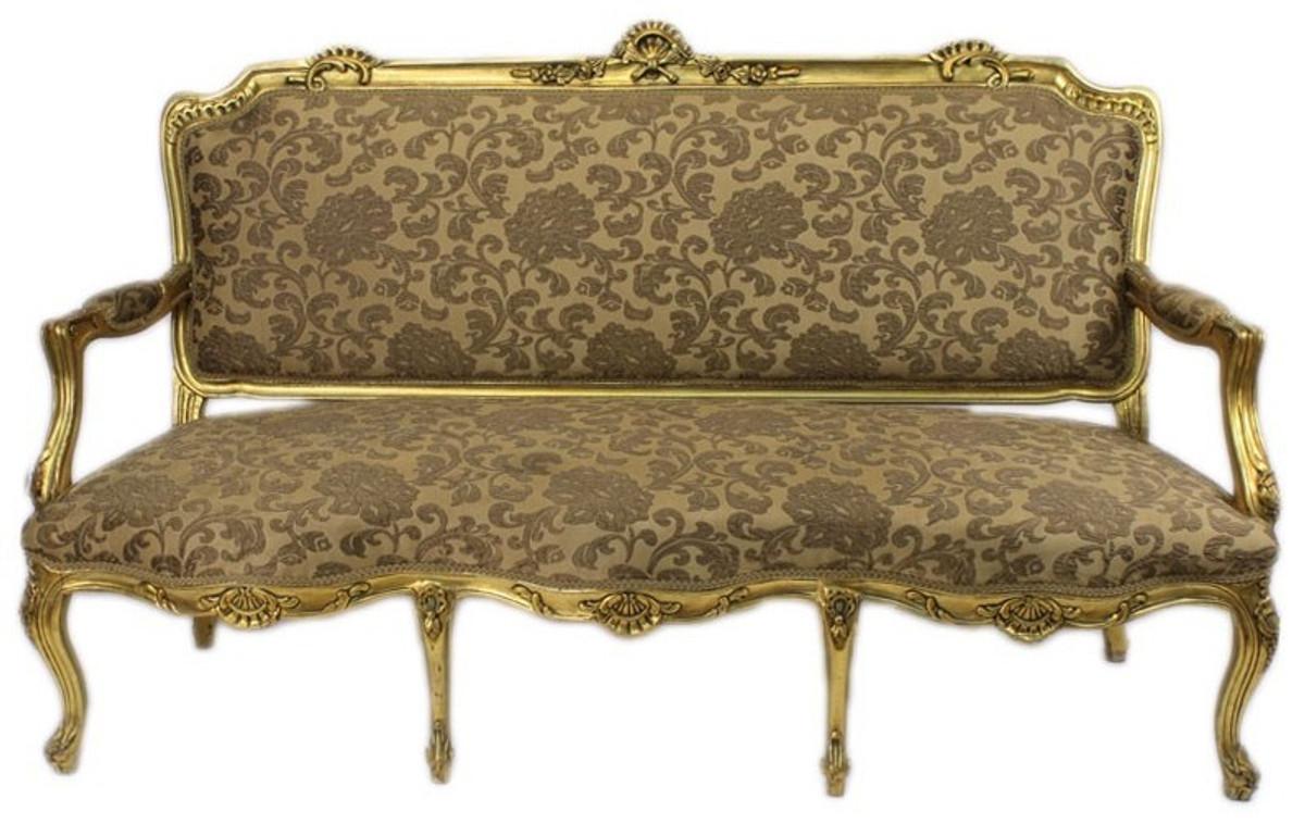 Casa Padrino Barock Wohnzimmer Set Strassbourg Gold Muster / Antik Stil  Gold   Sofa + 2