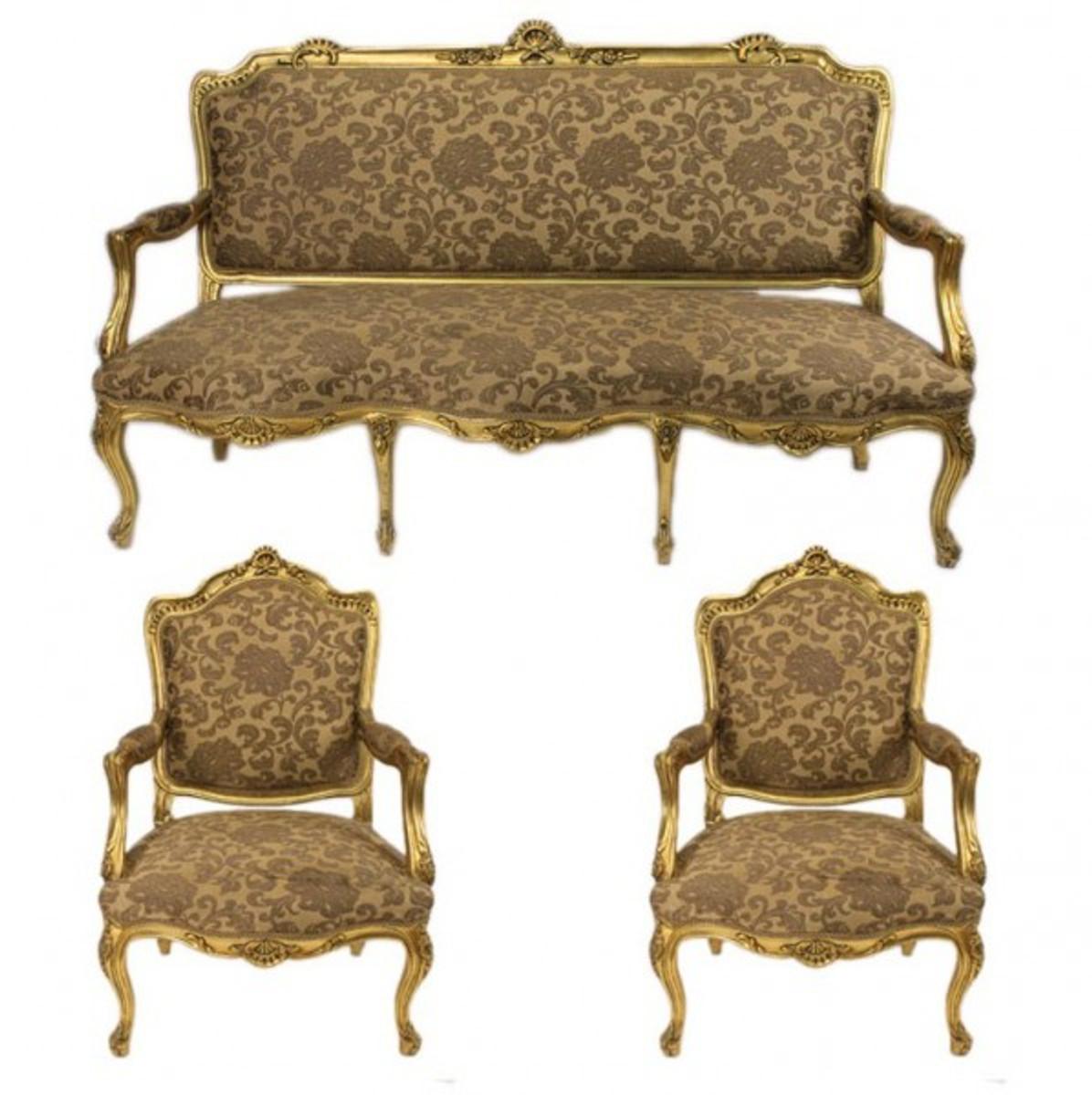 Casa Padrino Barock Wohnzimmer Set Strassbourg Gold Muster / Antik Stil  Gold   Sofa + 2 Sessel