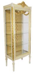 Casa Padrino Barock Vitrine Antikstil Weiß / Gold - Vitrinenschrank - Wohnzimmerschrank Glasvitrine