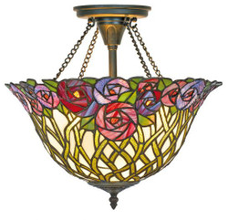 Casa Padrino Tiffany ceiling lamp / Hanging lamp mosaic glass Diameter 40 cm - light lamp