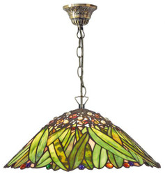 Casa Padrino Tiffany ceiling lamp / Hanging lamp with chain mosaic glass banana leaves Diameter 40 cm - light lamp