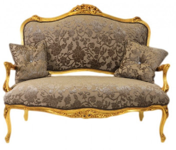 Casa Padrino Barock Sofa Weiss Gold Muster Gold Italienischer Stil